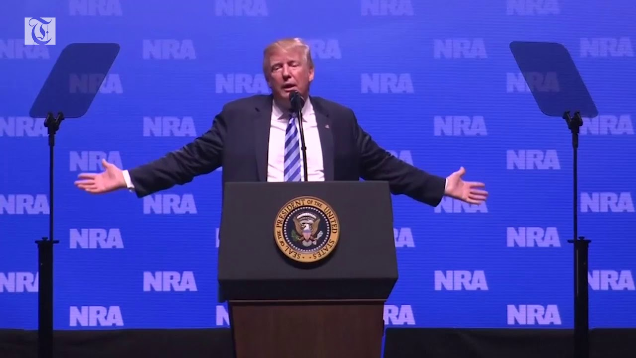 Trump mentions London knife stabbings in NRA speech