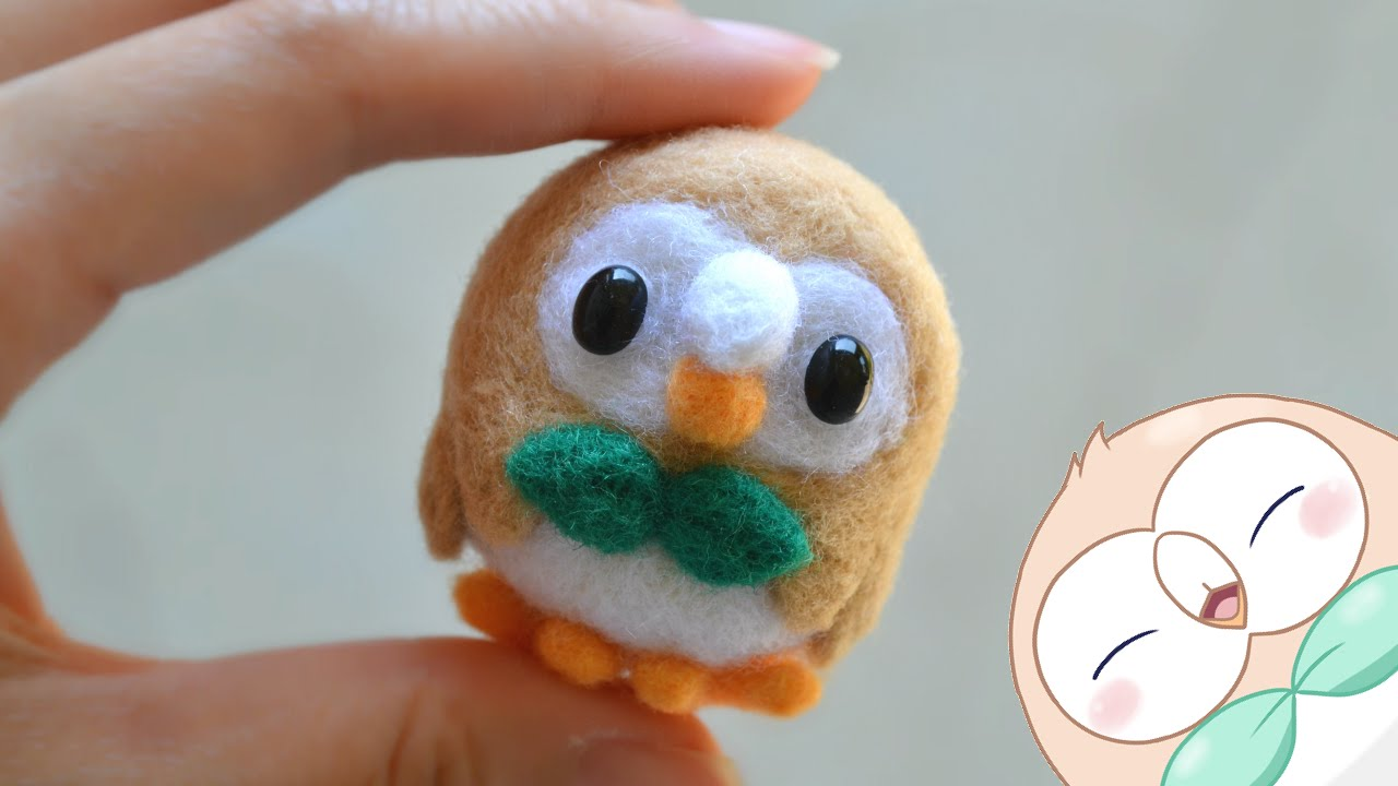 Rowlet Plush Pokemon DIY Needle Felt! ft. Craftie Bunnies - YouTube