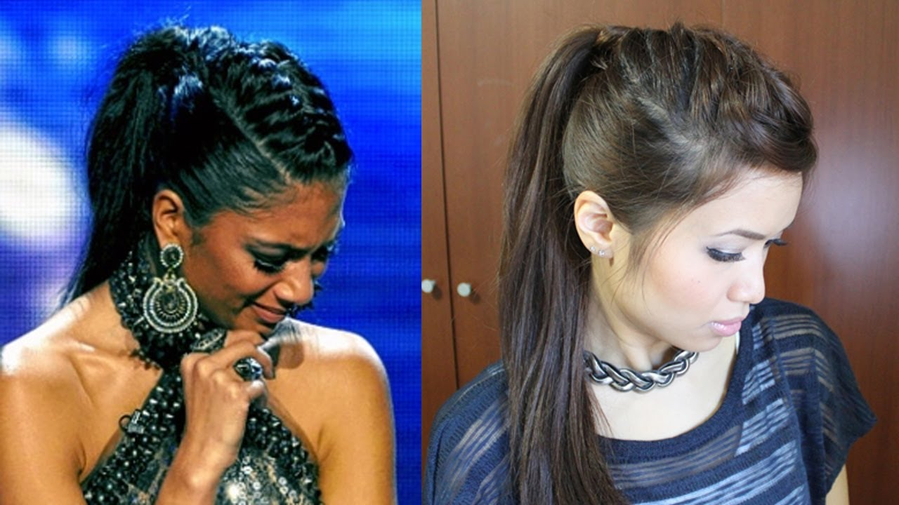 Nicole Scherzinger French Braid Edgy Ponytail Hairstyle For Medium Long Hair  Tutorial  Youtube