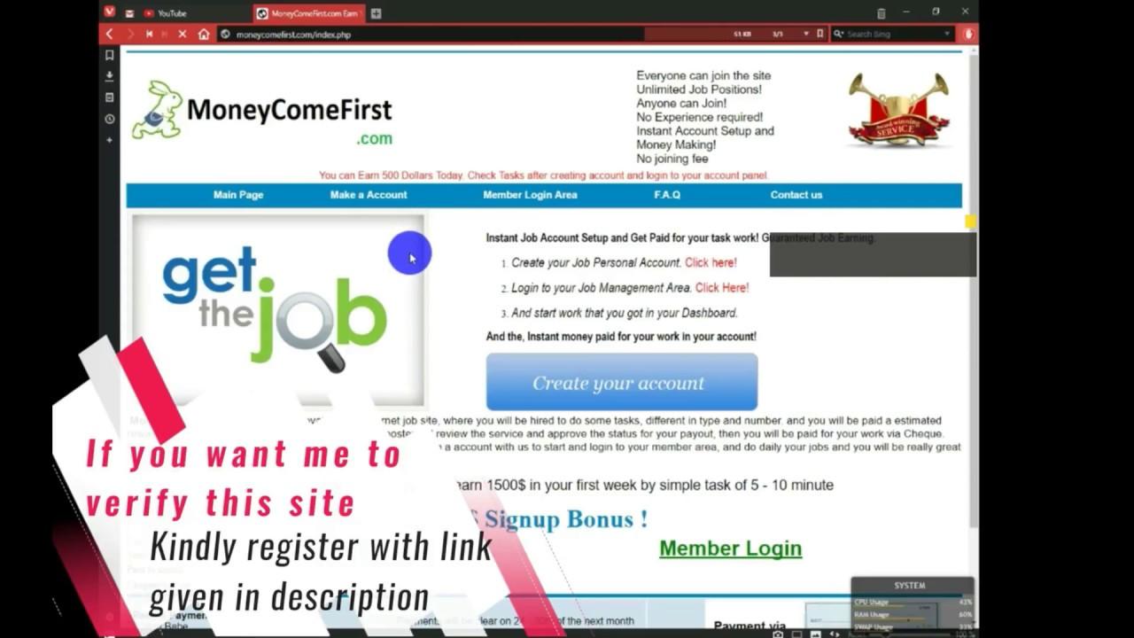 Earn money online | Free Money | Earn cash | 100% legit site