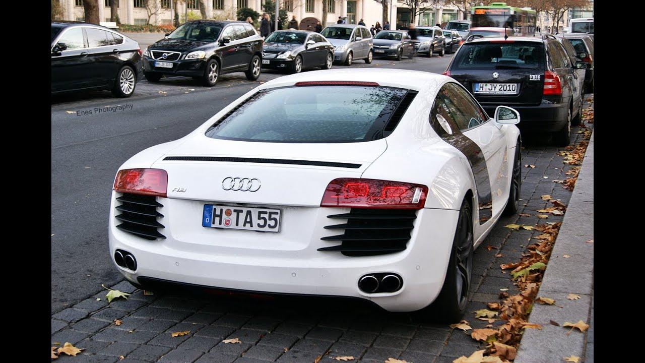 White Audi R8 V8 With Black Rims Youtube