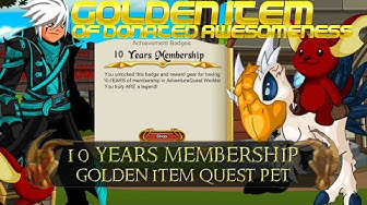 AQW Golden Item Of Donated Awesomeness | 10 Years Membership Shop + 750,000 AC's Shop! Quest Pets!
