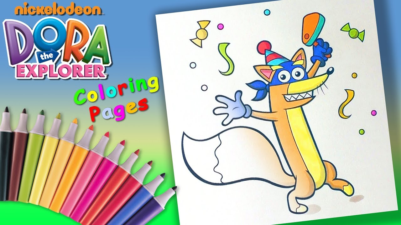 Dora The Explorer Colouring For Kids Fox Swiper On Holiday Coloring Pages Youtube