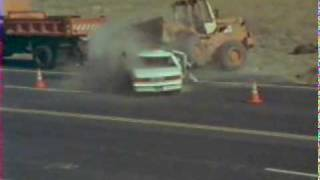 Heavy Equipment Skip loader vs car accident