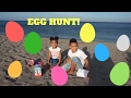 THE GREAT CADBURYS EGGS HUNT !!,shopkins, kinder eggs, surprise egg hunt on the beach, treasure hunt
