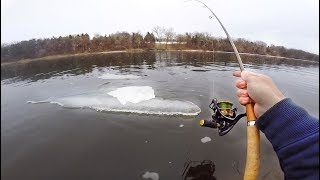Fishing Frozen River For Elusive Bass