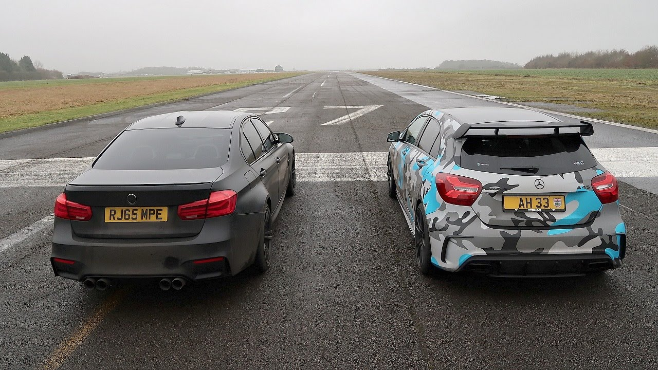 DRAG RACE BMW M3 VS Mercedes A45 AMG  YouTube