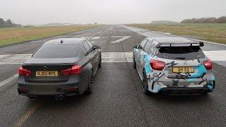 vuclip DRAG RACE! BMW M3 VS Mercedes A45 AMG!
