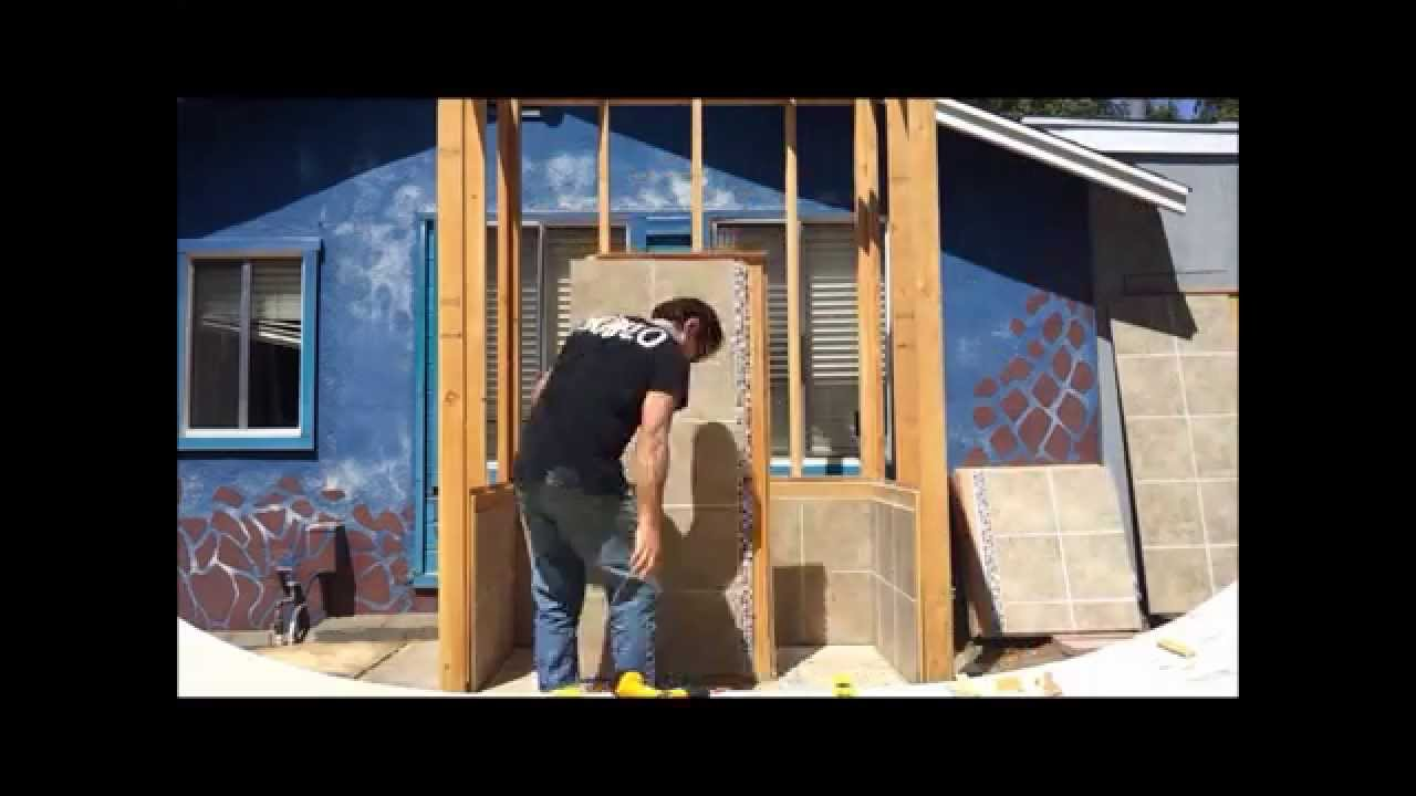 how to remodel shower walls with pretiled and grouted