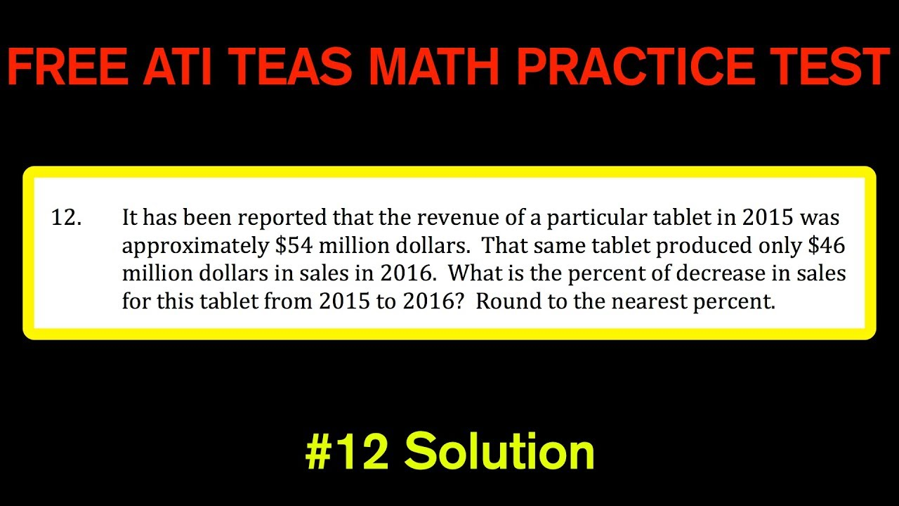 ATI TEAS MATH Number 12 Solution - FREE Math Practice Test - Percent ...