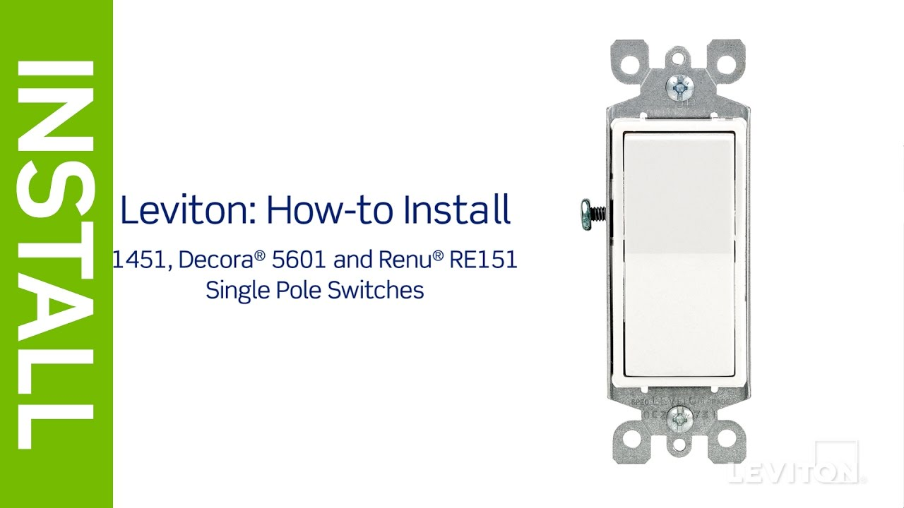 leviton presents how to install a single pole switch youtube single pole contactor wiring diagram leviton [ 1280 x 720 Pixel ]