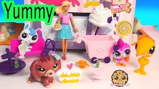 LPS Yummy In Our Tummies Ice Cream Sweet Treat Cart With Littlest Pet Shop + Barbie Doll