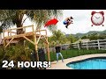 24 HOUR Tropical Tree Fort in our Backyard!! *DANGIE POOL JUMP*