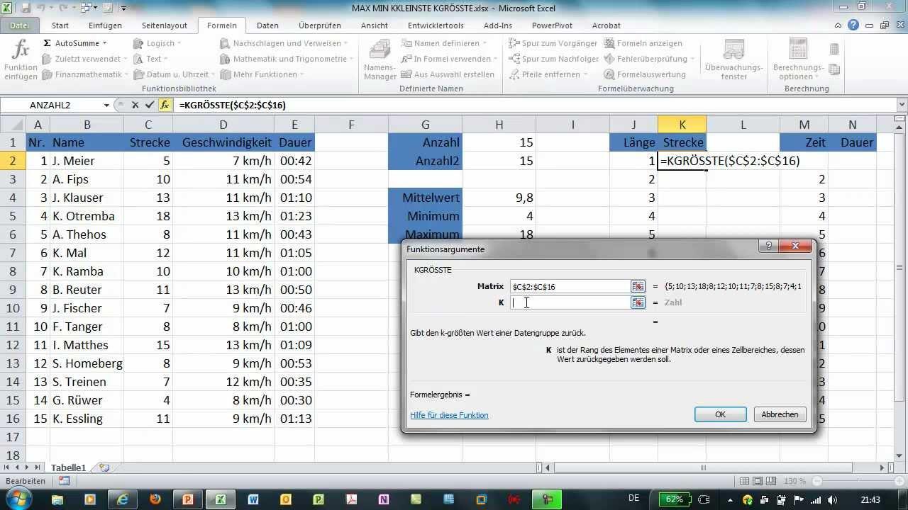 Excel Kkleinste