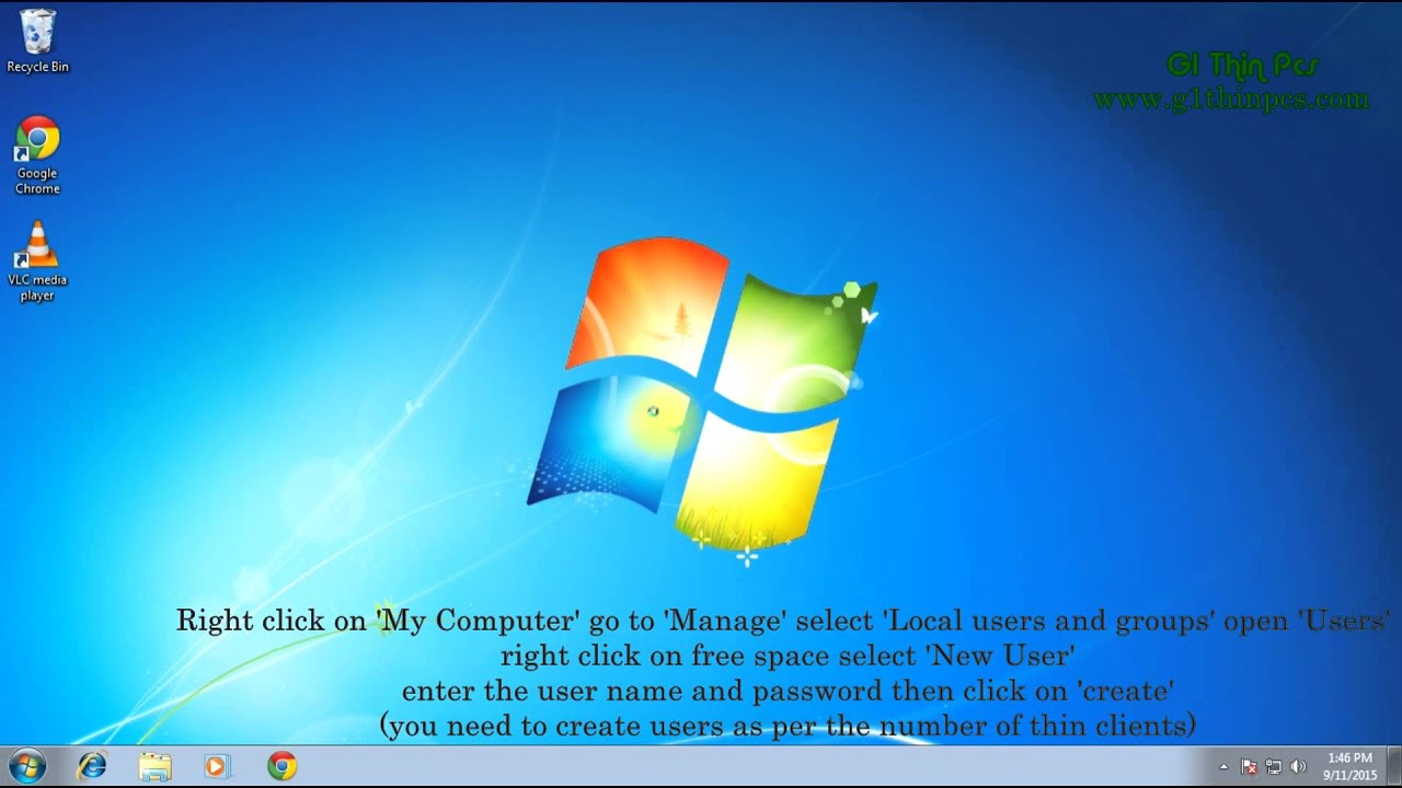 thin client server setup for windows 7