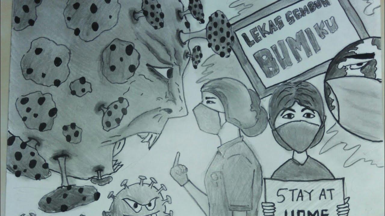 CORONAVIRUS poster - Menggambar tema melawan virus corona (covid ...