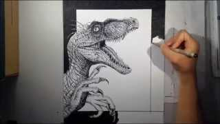 Realistic Pointillism Drawing of a Velociraptor - Drawing time-lapse # 9