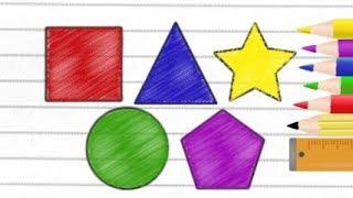 Desenhando Quadrado Círculo Triângulo Pentágono e Estrela - Vídeo para Crianças