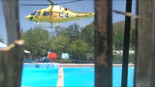 A Helicopter destroys the TV Set