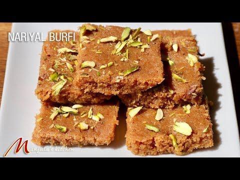 Nariyal Burfi (Coconut Fudge) Delicious Indian Dessert Recipe by Manjula