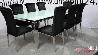 Stół Glamour  780+ krzesła glamour 316 w czarnej tkaninie