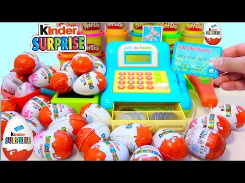 Cash Register Shopping Market  Surprise Eggs Toys Ice Cream Play Doh