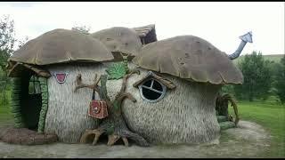 детский домик в виде грибов из арт бетона своими руками