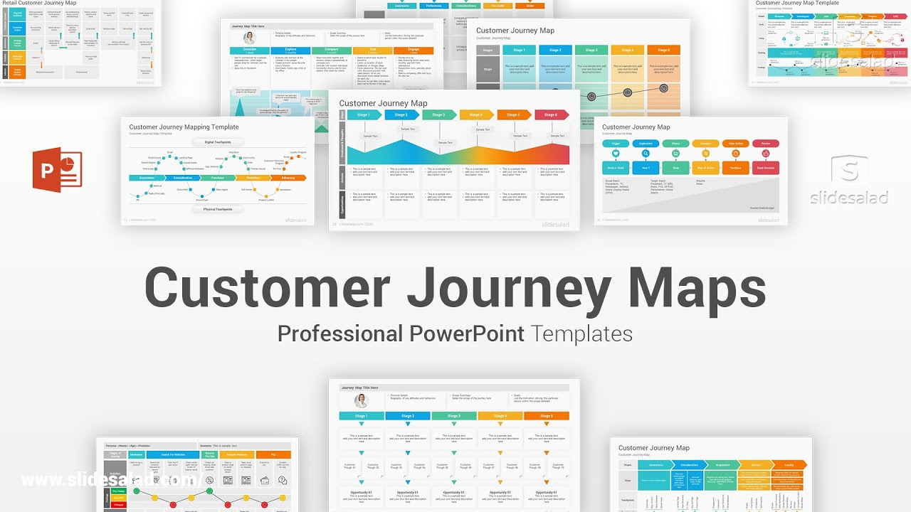 Customer Journey Maps PowerPoint Template Examples Diagrams - SlideSalad