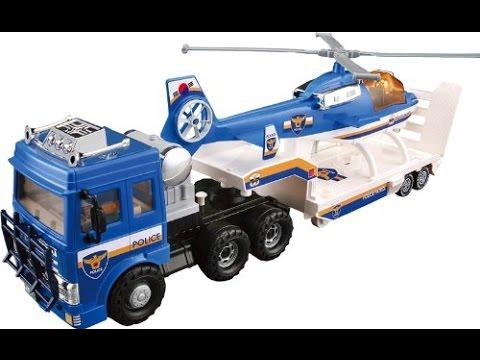 camion police transporteur h licopt re jouet pour les enfants youtube. Black Bedroom Furniture Sets. Home Design Ideas