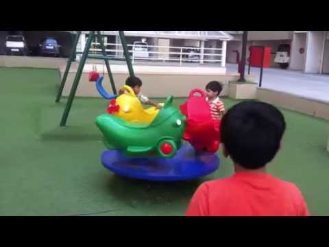 Thumbnail: Children Playing In The Park With Roundabouts, Swing, Slide, SeeSaw #3 by JeannetChannel