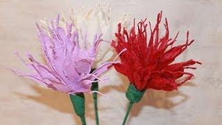 Как сделать цветок из гофрированной бумаги - Георгина