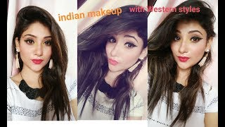 Indian girl makeup with western style || bold eyeliner & red lips || shy styles