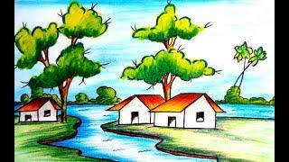scenery easy village draw