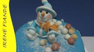 Фигурки из мастики для торта.   Лепим снеговика для новогоднего торта
