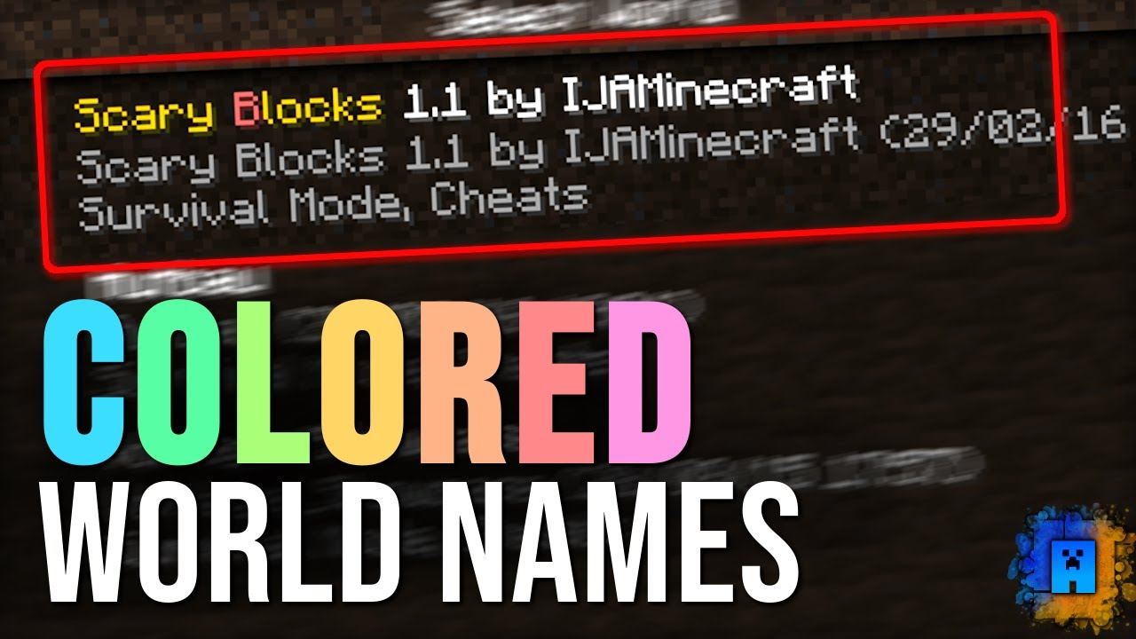 Minecraft Farben Id.How To Get Colored World Names In Minecraft Tutorial