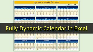 Dynamic Calendar for 2020 in Excel
