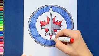 How to draw and color the Winnipeg Jets Logo - NHL Team Series