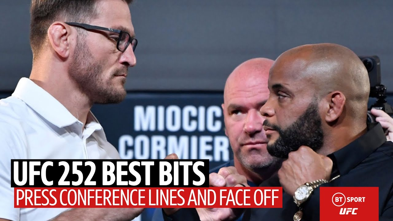 Best bits and face off between Miocic and Cormier from the UFC 252  press conference