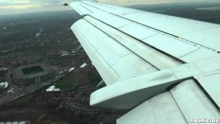 Lufthansa Boeing 737-300 Landing at Heathrow (Wing view)[HD]