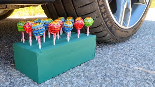 Crushing Crunchy & Soft Things by Car! EXPERIMENT CAR vs Floral Foam and Chupa Chups Lollipops