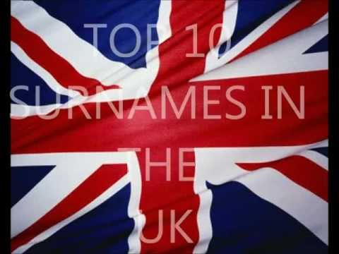 Top 10 most popular Surnames in the UK