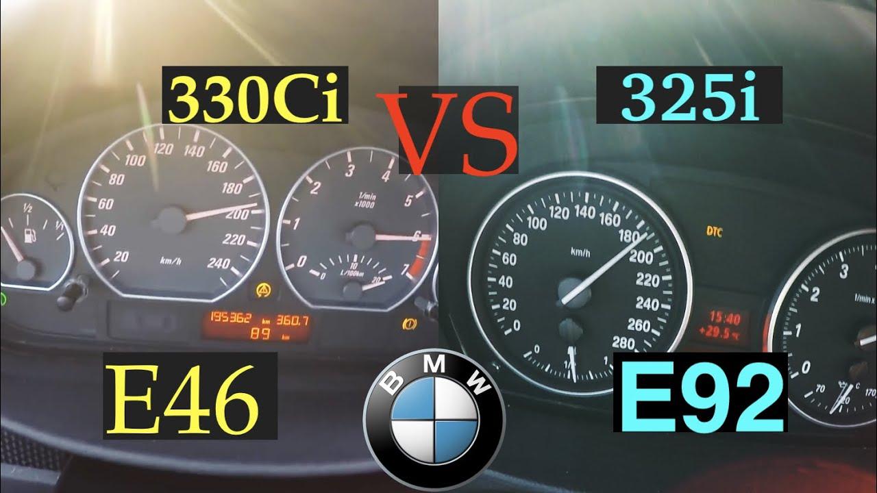 Acceleration Battle | E46 vs E92 | BMW 330Ci vs BMW 325i | 170 kW vs 160 kW | 200 km/h