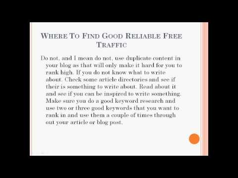 Where To Find Good Reliable Free Traffic