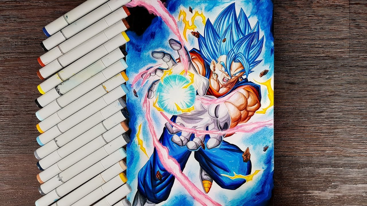 Drawing Vegito Super Saiyan Blue Final Kamehameha - YouTube