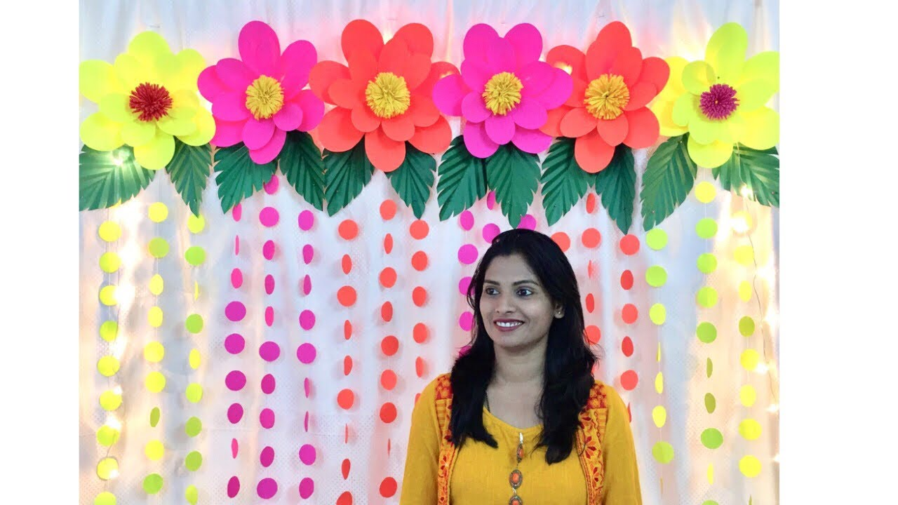 Easy Birthday Decoration Ideas At Home Easy Paper Flowers Decoration For Any Occasion At Home Youtube