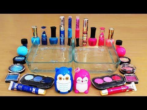 Mixing Makeup Eyeshadow Into Slime ! Blue vs Pink Special Series Part 16 Satisfying Slime Video