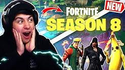 new season 8 battlepass in fortnite reaction all skins and unlocks duration 14 31 - dantdm fortnite season 8 map