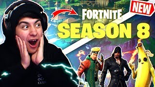 *NEW* SEASON 8 BATTLEPASS in Fortnite REACTION! (ALL SKINS and UNLOCKS)
