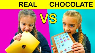CHOCOLATE vs REAL Gisele y Claudia