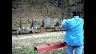 Shooting steel plates with a .22 High Standard Sport King